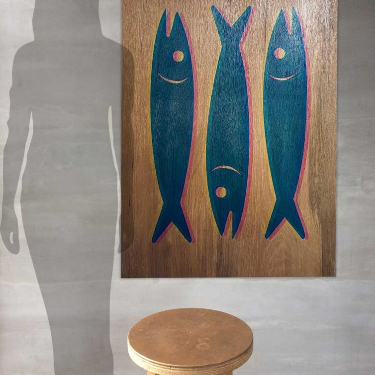 Screenprinted Ply 3d Sardine