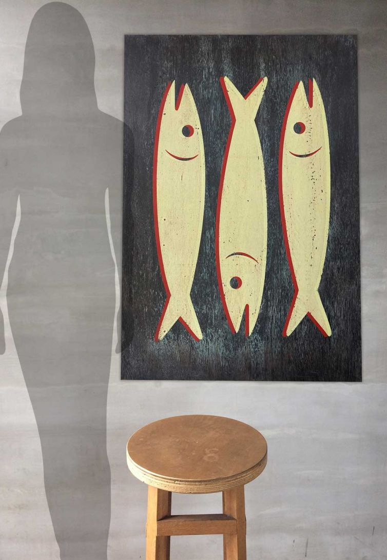 Screenprinted Ply Vintage Sardine